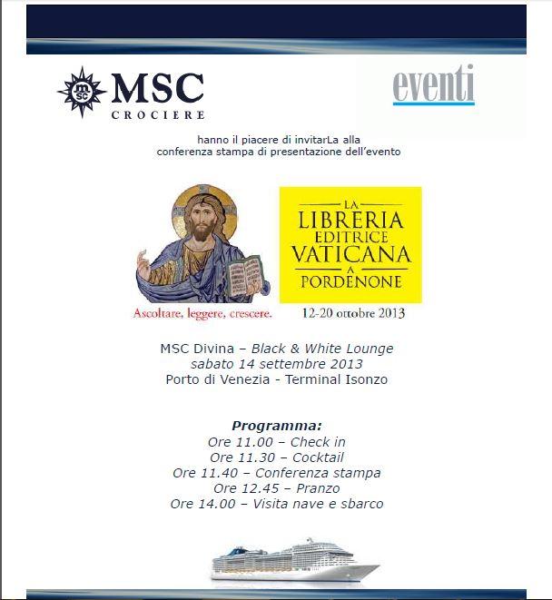 2013/09/14 MSC Divina LA LIBRERIA EDITRICE VATICANA A PORDEN-evento-libreria-editrice-vaticana-jpg