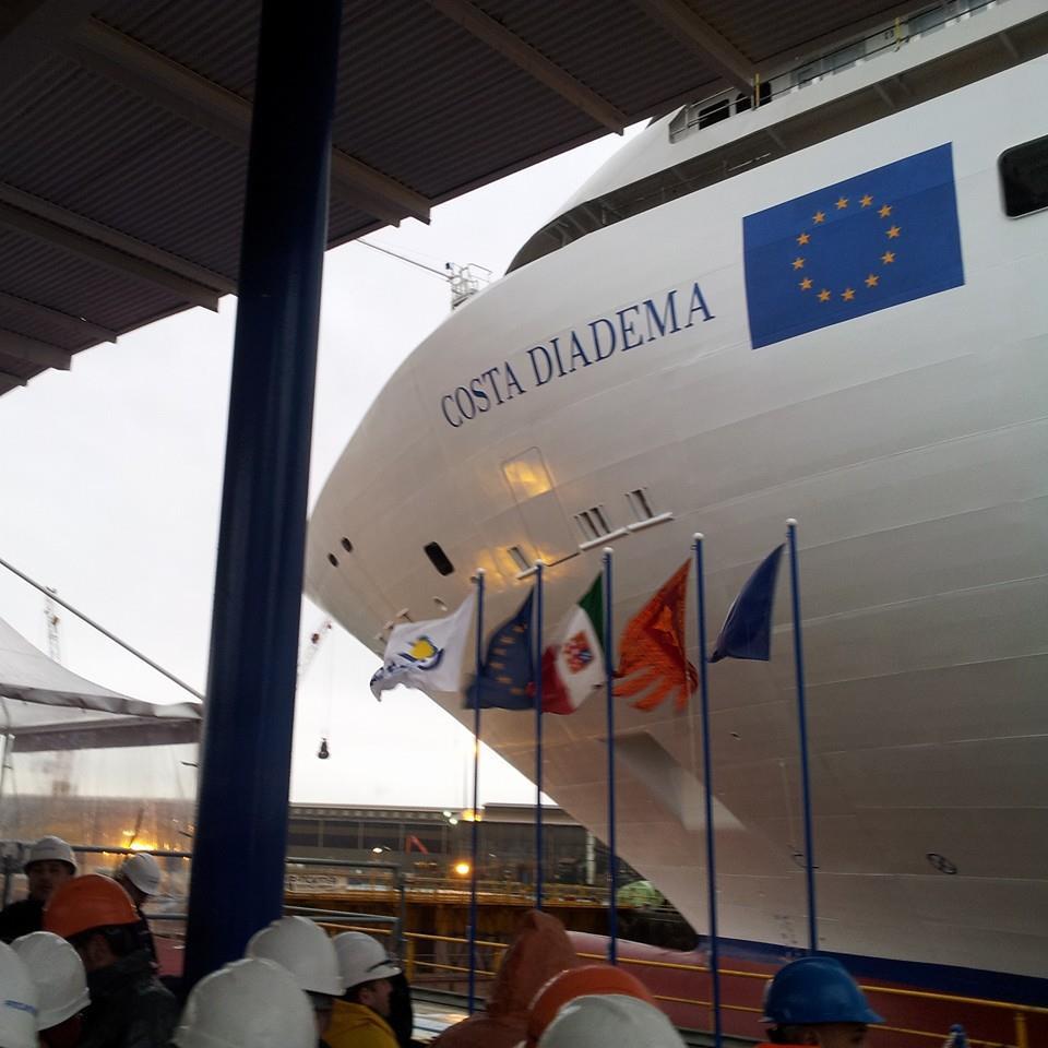 Costa Diadema a Marghera per il varo tecnico