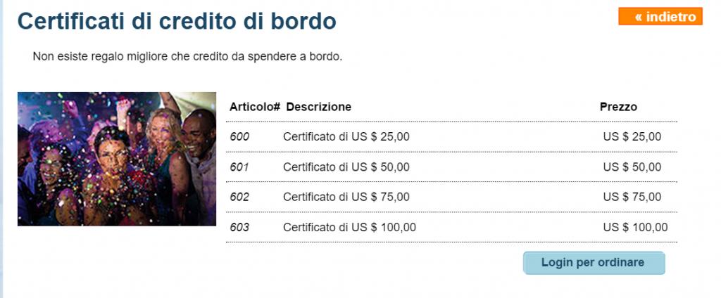 Certificati di credito di bordo