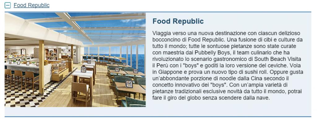 Food Republic buffet NCL Escape
