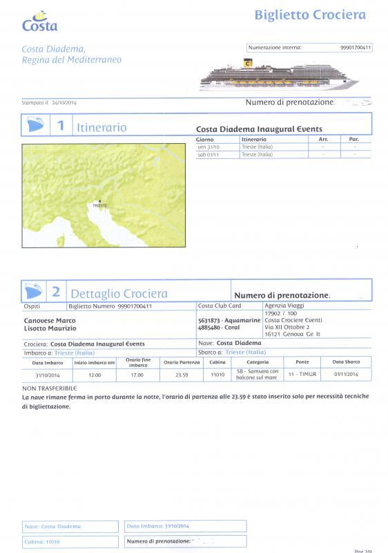 2014/10/31 Arrivo a Trieste e imbarco Costa Diadema-biglietto-crociera-001-jpg