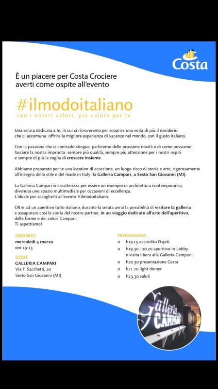 Evento Costa Crociere #ilmodoitaliano Galleria Campari Milano.-uploadfromtaptalk1425496810467-jpg