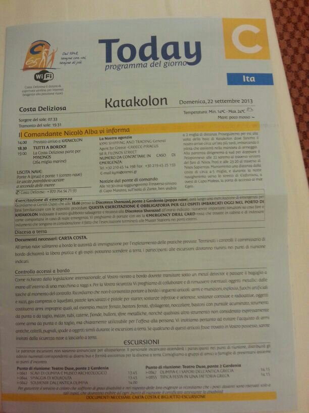 2013/09/22 Katakolon Costa Deliziosa-uploadfromtaptalk1379846688276-jpg