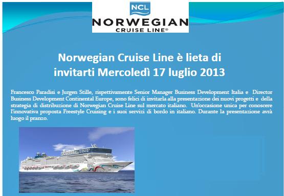 17/07/13 - Milano - Pranzo Stampa Norwegian Cruise Line-norwegian-png