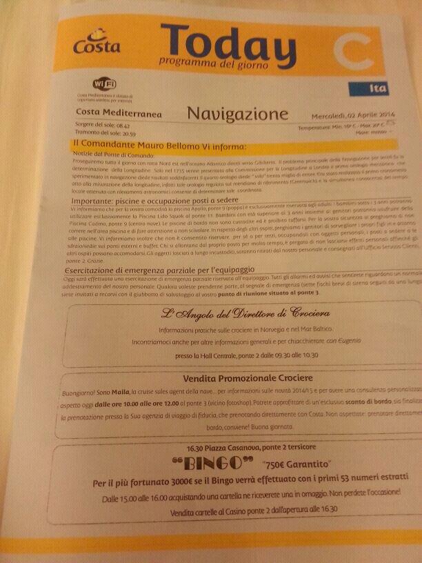 2014/04/02 - Navigazione - Costa Mediterranea-uploadfromtaptalk1396439917968-jpg