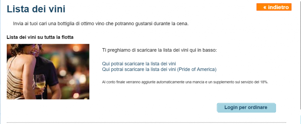 lista dei vini NCL